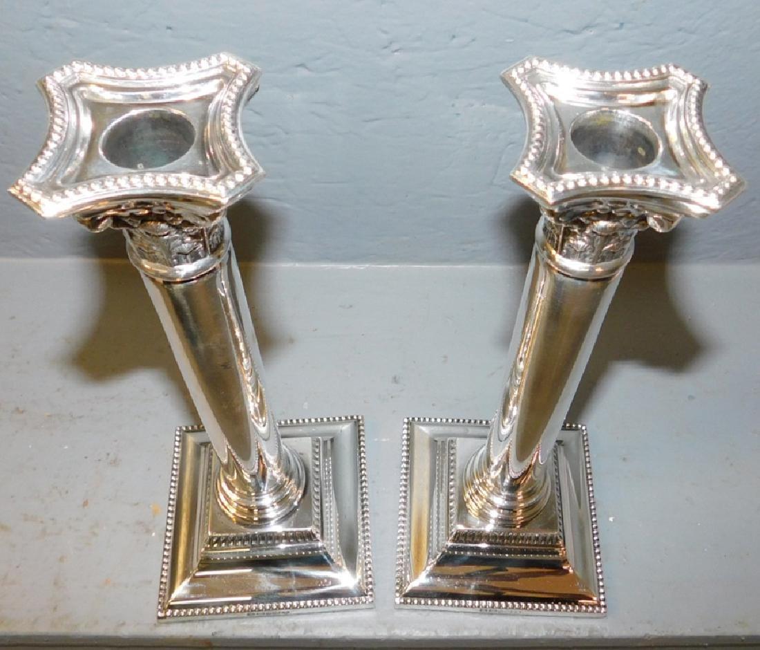 Pr. Silver plated hallmarked Sheffield candlesticks. - 3