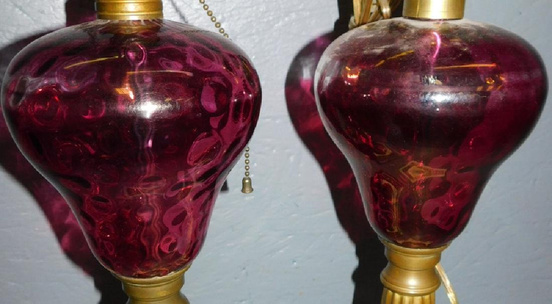 Pr. Cranberry and brass electric oil lamps - 2