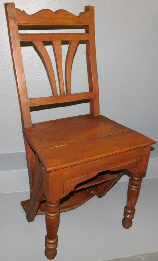 Early fold over library step chair.