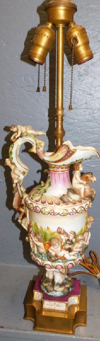Capodimonte urn lamp.