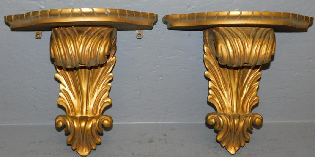 Pair gold leaf hand carved shelves.