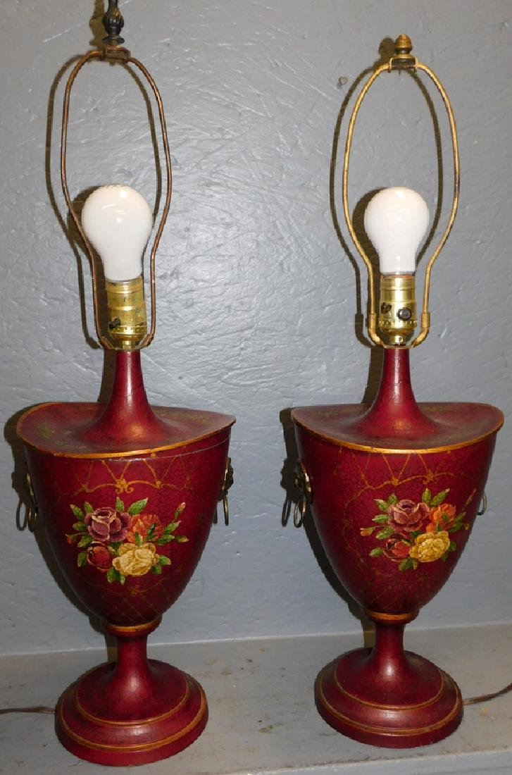 Pair of Tole painted canister lamps.