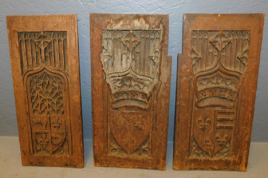3 carved 18th C  French panels.