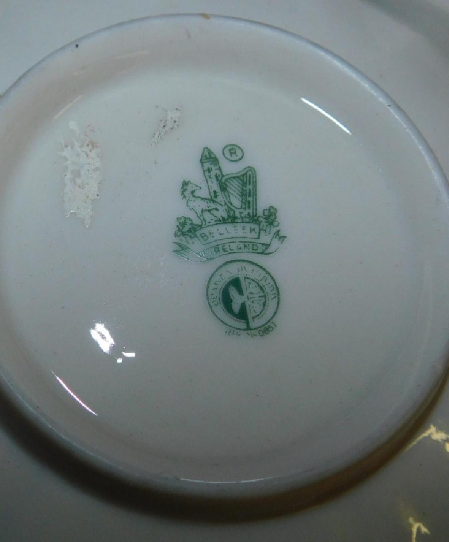 11 pc. Irish Belleek black & green marked china - 2