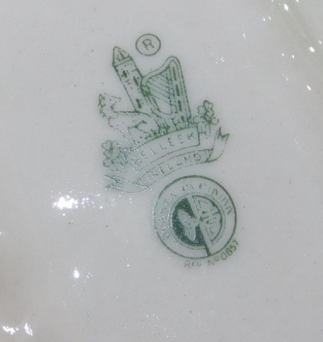 13 pcs.  Irish Belleek mostly green marked china. - 2