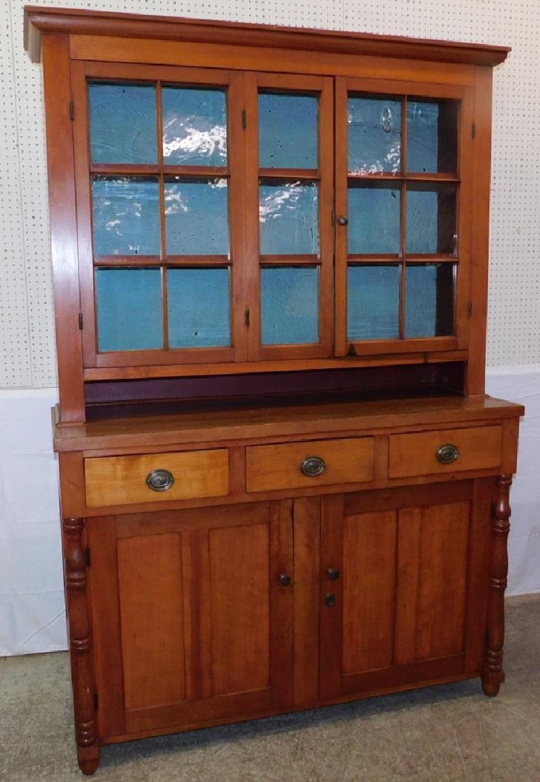 19th C American cherry Sheraton off-set cupboard