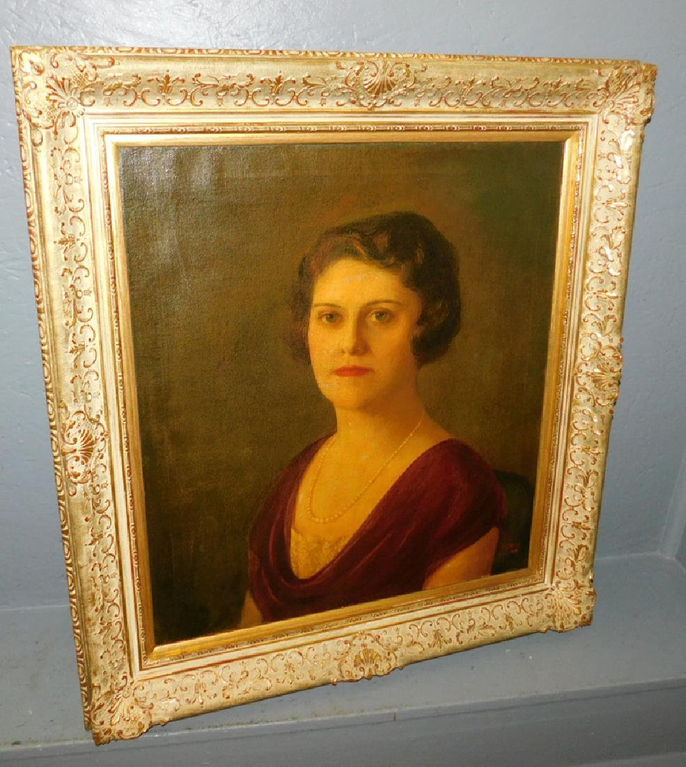 19th C OOC gilt framed portrait of lady
