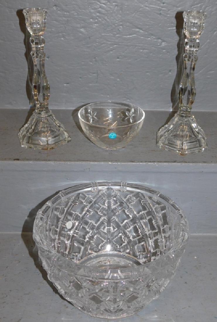 Pr Tiffany & Co. glass candlesticks & 2 bowls