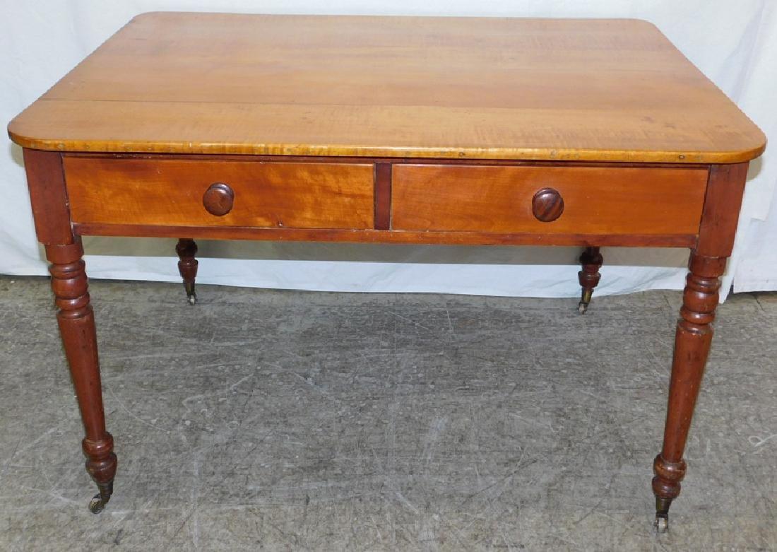 Tiger maple 2 drawer 19th century Sheraton desk.