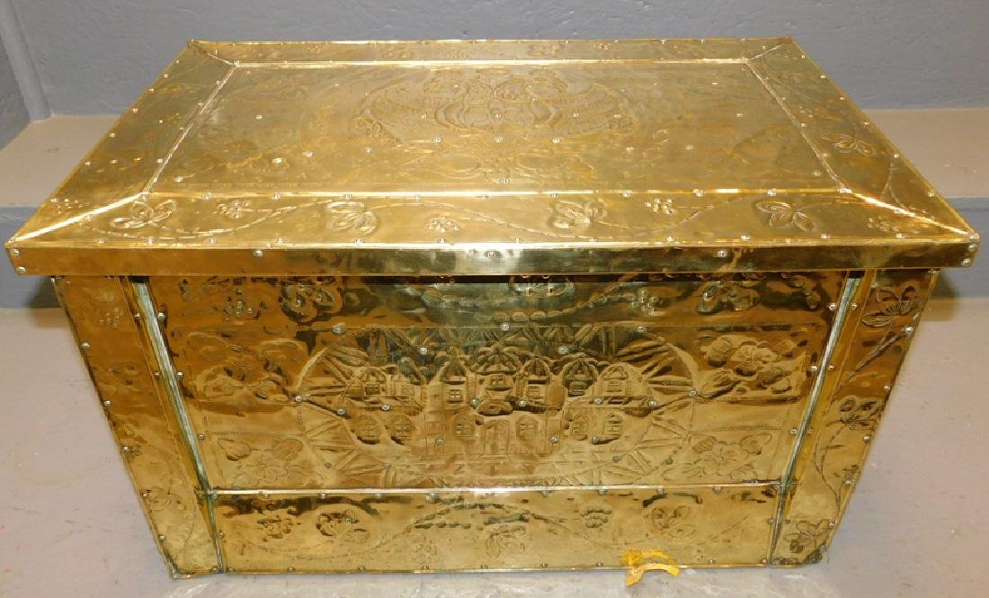 19th c Polished brass kindling box.