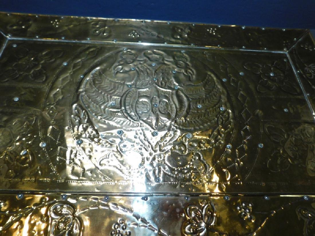19th c Polished brass kindling box. - 2