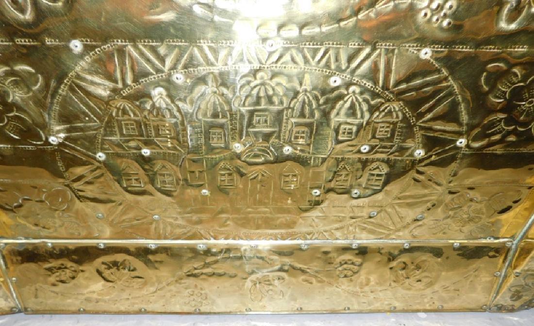 19th c Polished brass kindling box. - 3