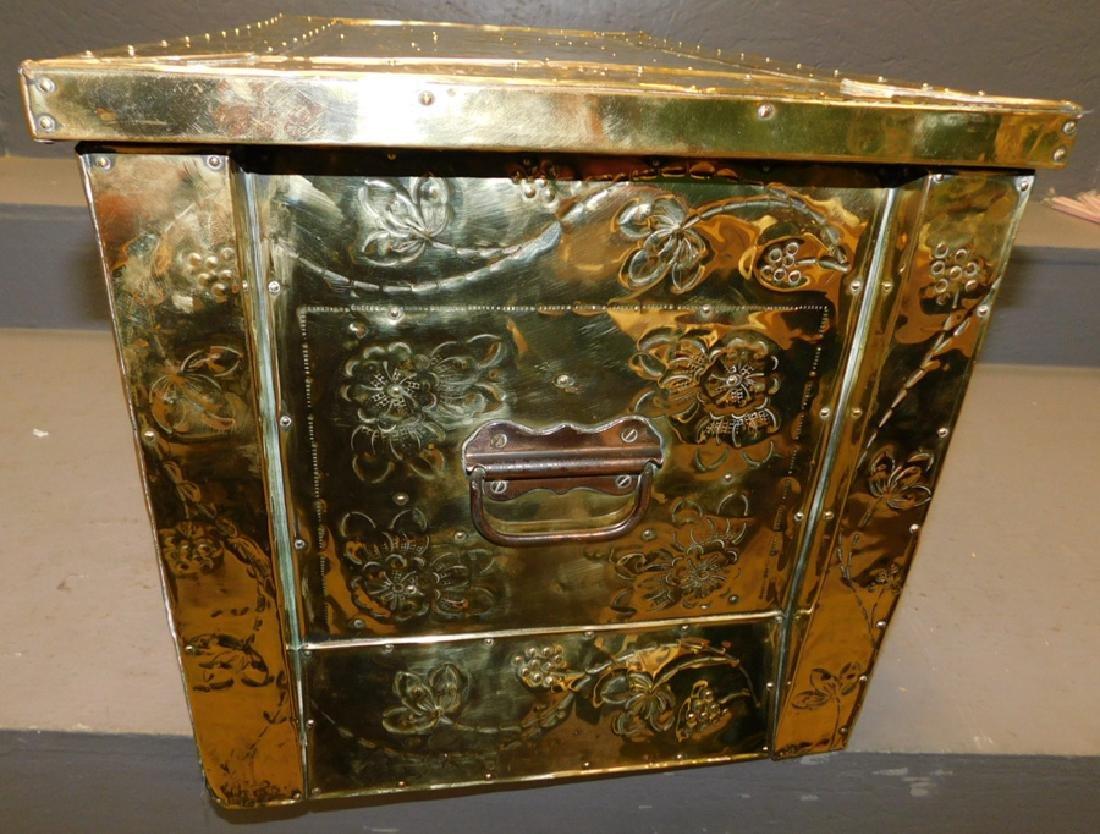 19th c Polished brass kindling box. - 4