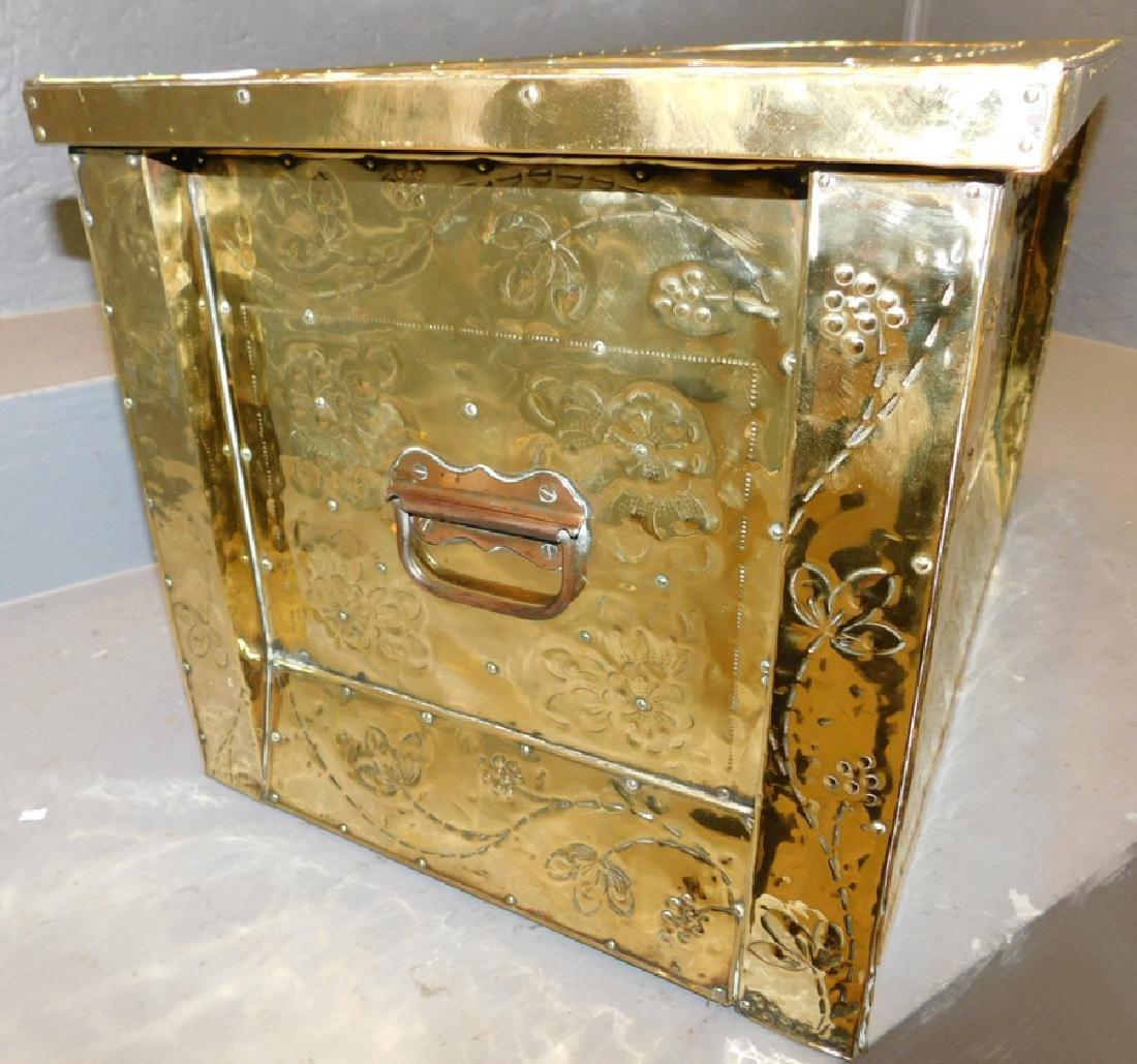 19th c Polished brass kindling box. - 5