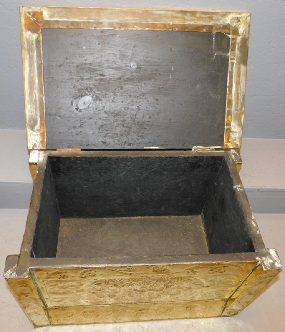 19th c Polished brass kindling box. - 6