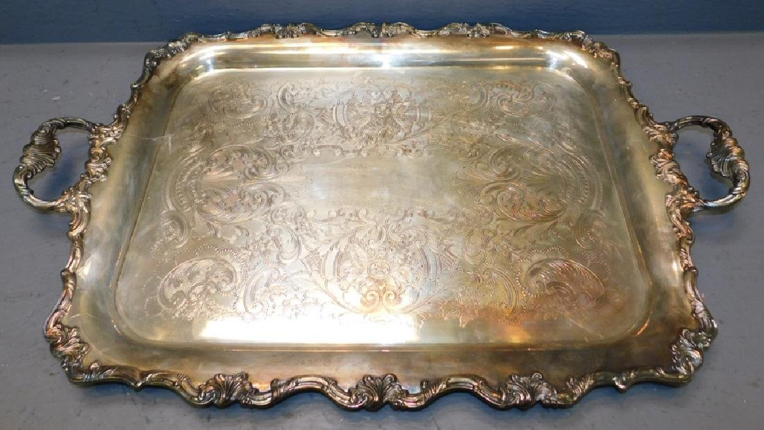 Large English silver on copper 2 handle footed tray.