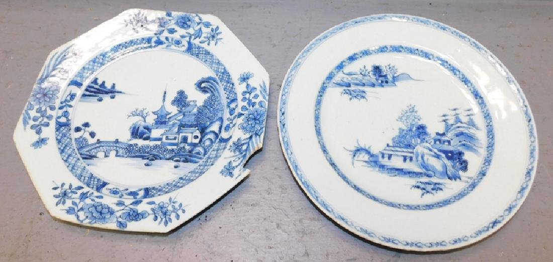 2 18th c Chinese export plates. One with chip