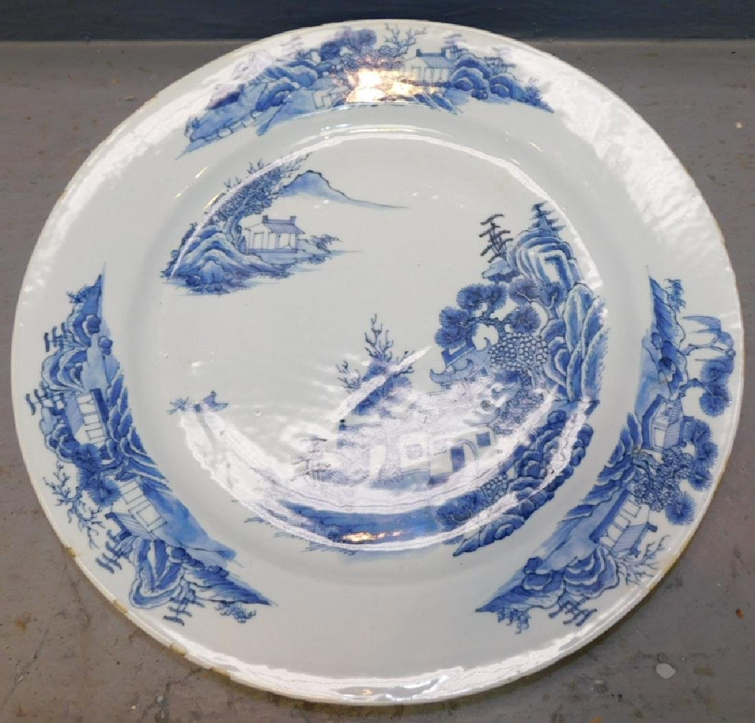 18th c Chinese blue and white export charger