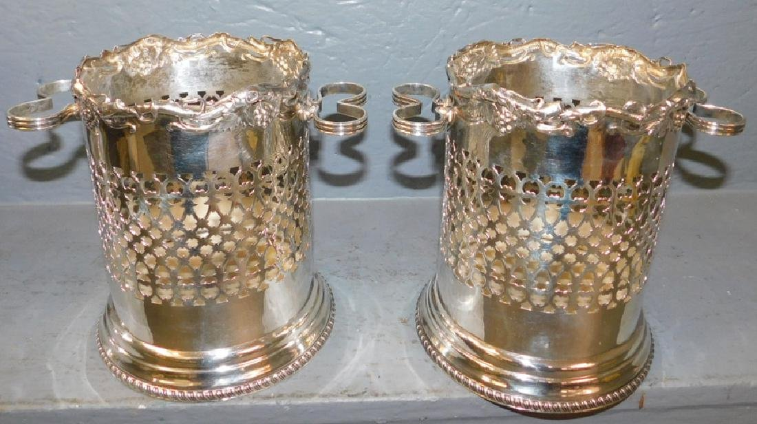 """Pr grape & cable silver plate wine coolers. 7"""" tall."""