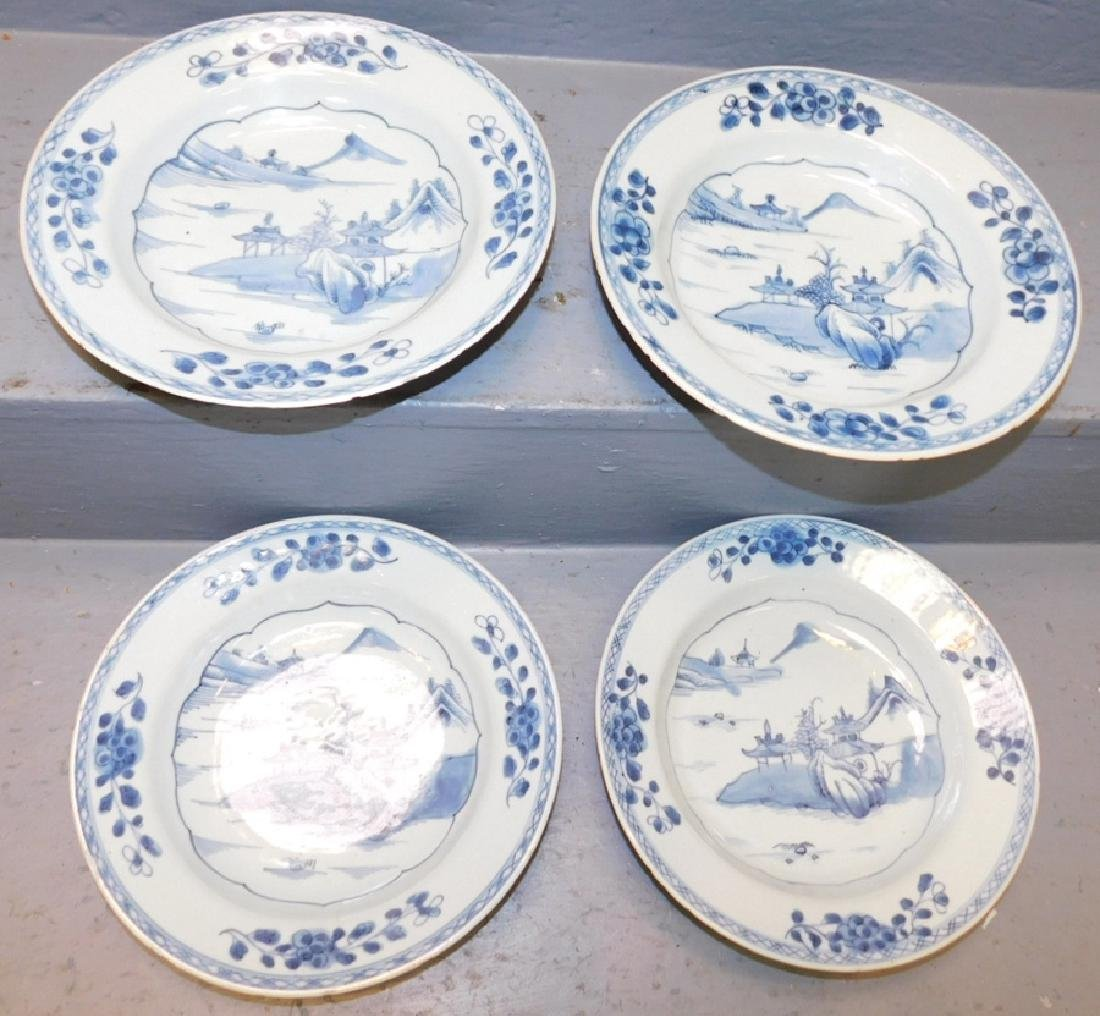 4 18th century blue and white Chinese soup bowls