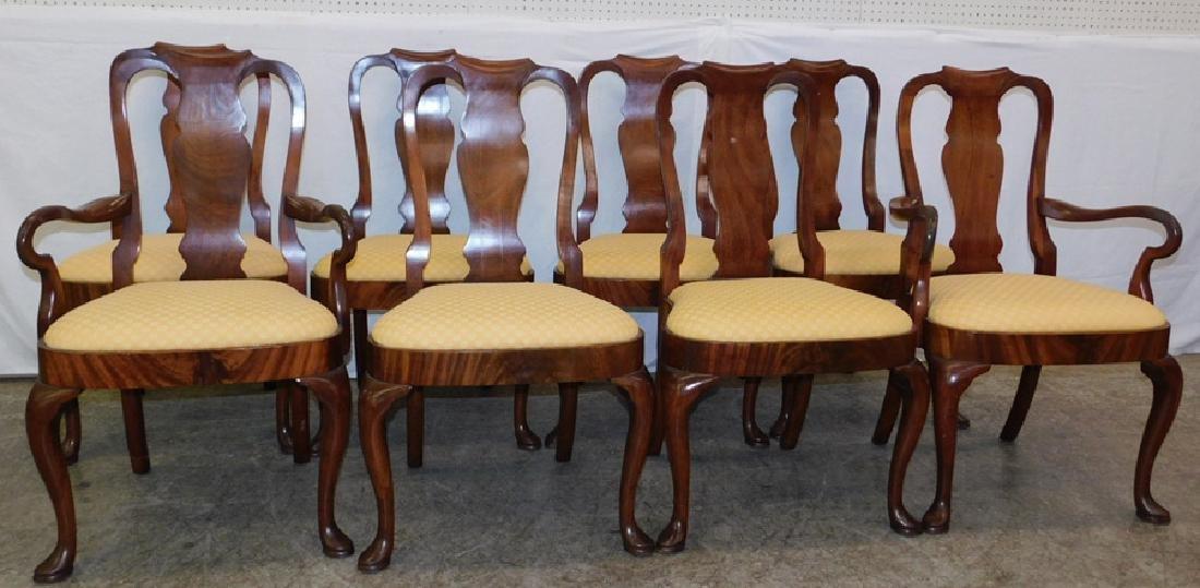 Set of 8 mahogany QA saddle seat chairs