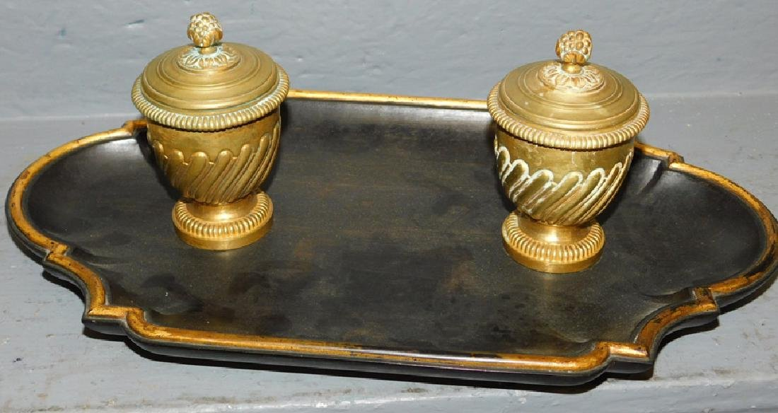 "Double French bronze and wood inkwell. 13"" x 8""."