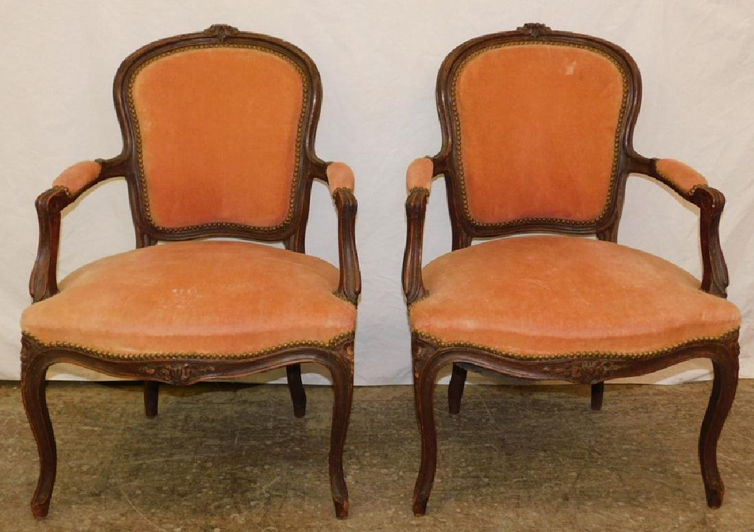 "Pair of French arm chairs. 34"" tall."