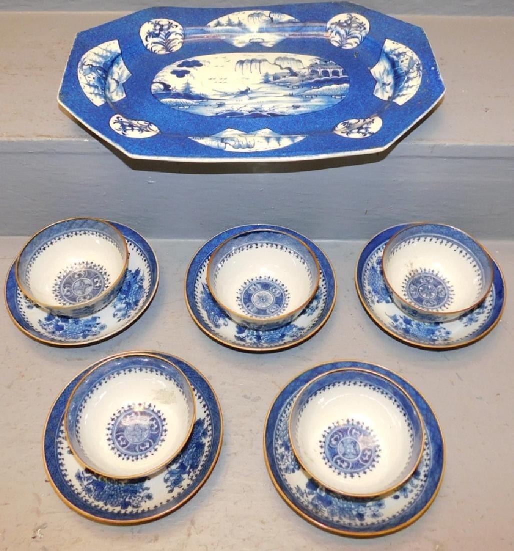 9 18th c Fitzhugh cans & saucers, bl & wh platter