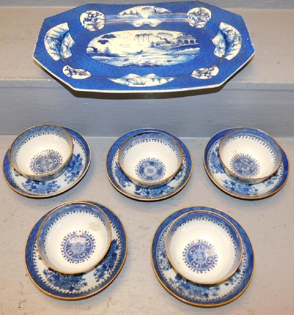 9 18th c Fitzhugh cans & saucers, bl & wh platter