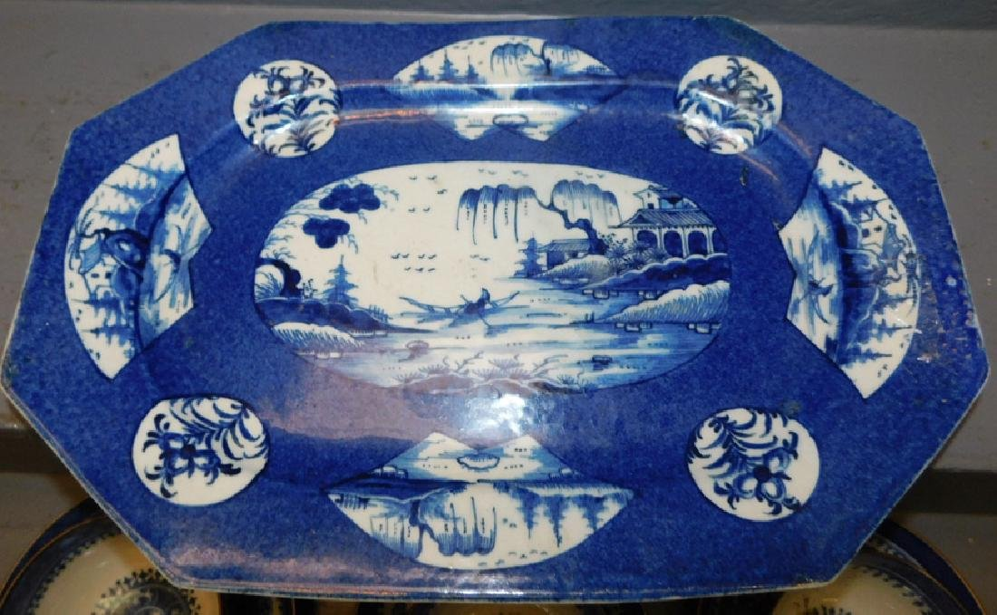 9 18th c Fitzhugh cans & saucers, bl & wh platter - 2
