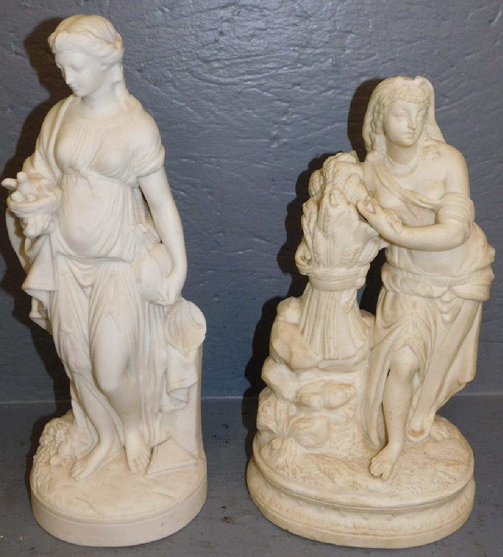 """2 Parian figures. To 15"""" tall."""