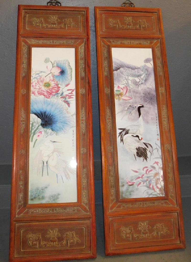 Pr HP porcelain framed Chinese wall plaques.