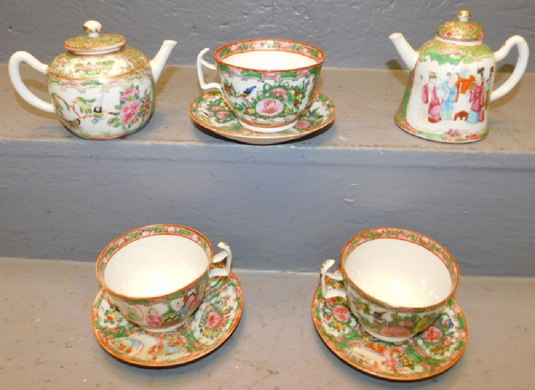 2  Rose Medallion small teapots, 3 cups & saucers.