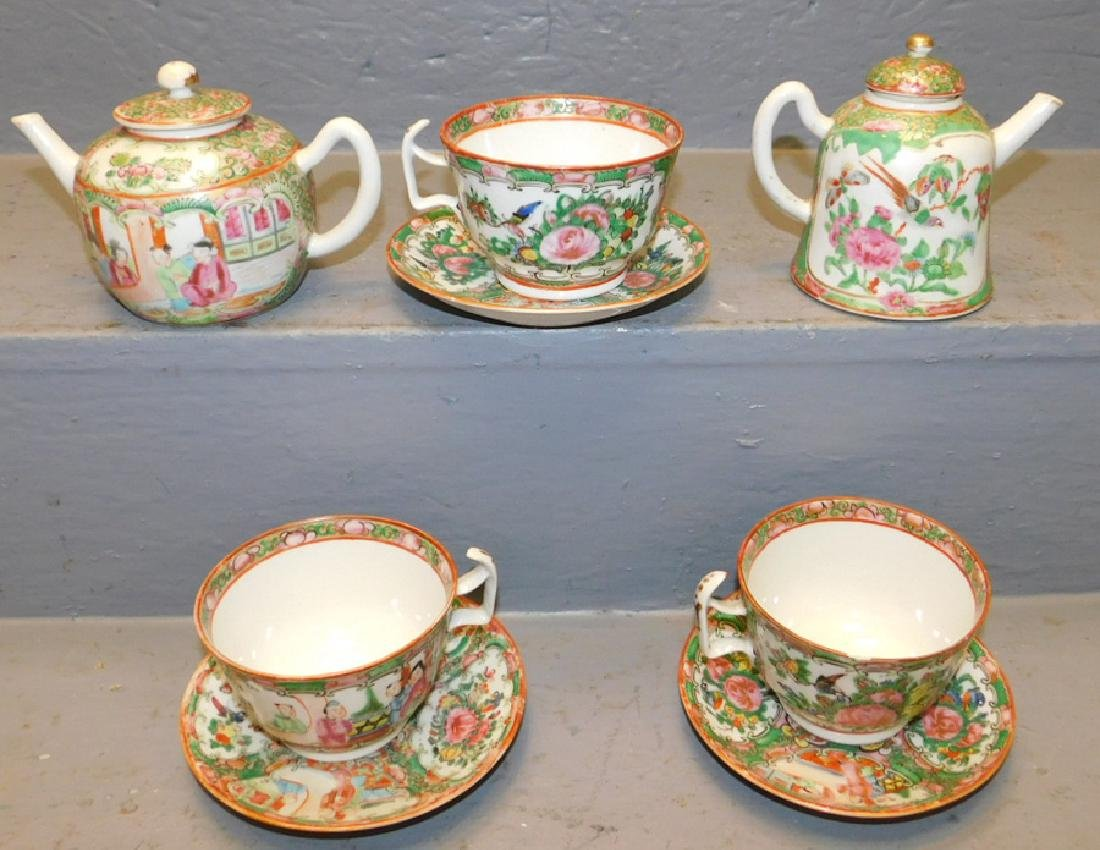 2  Rose Medallion small teapots, 3 cups & saucers. - 2