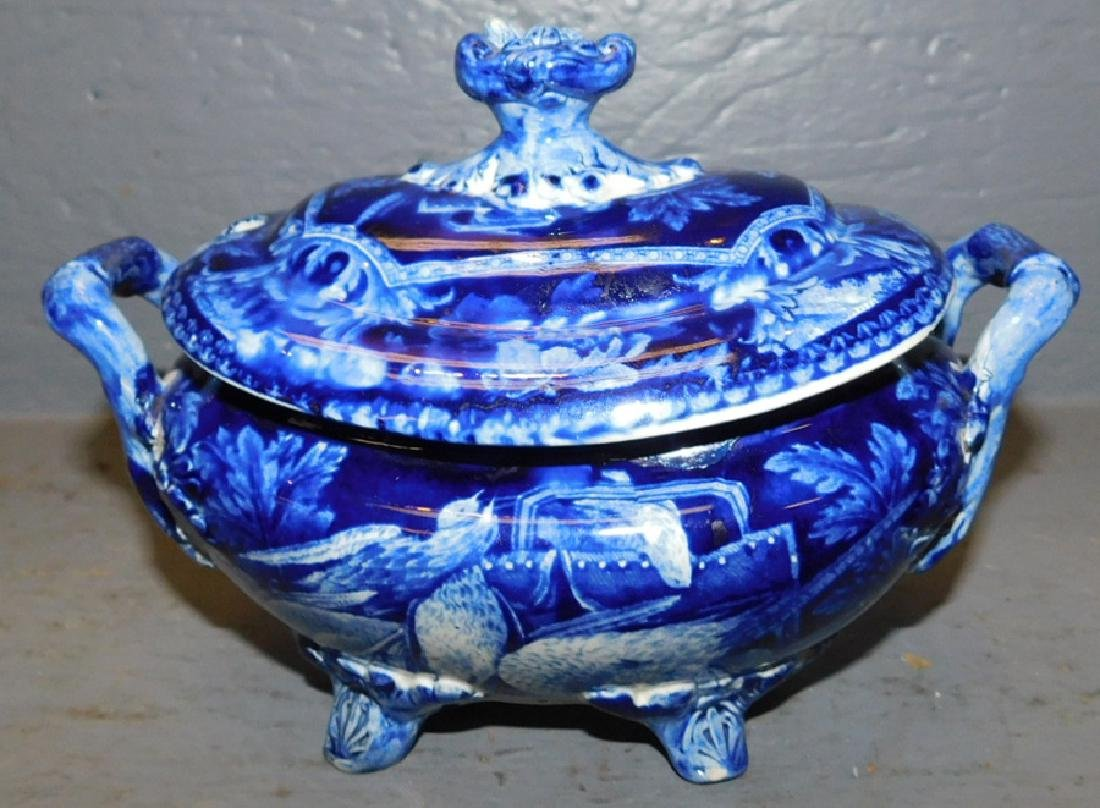 19th century dark blue historical footed sauce boat.