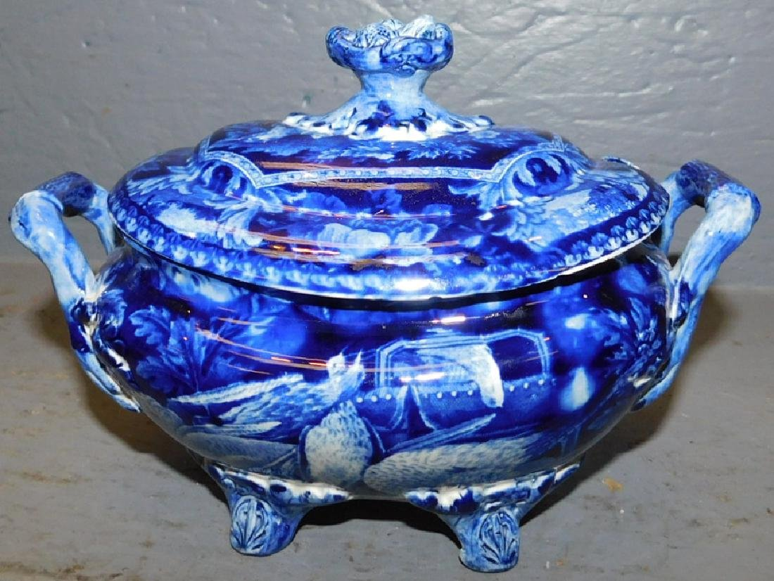 19th century dark blue historical footed sauce boat. - 2
