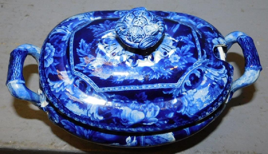 19th century dark blue historical footed sauce boat. - 3