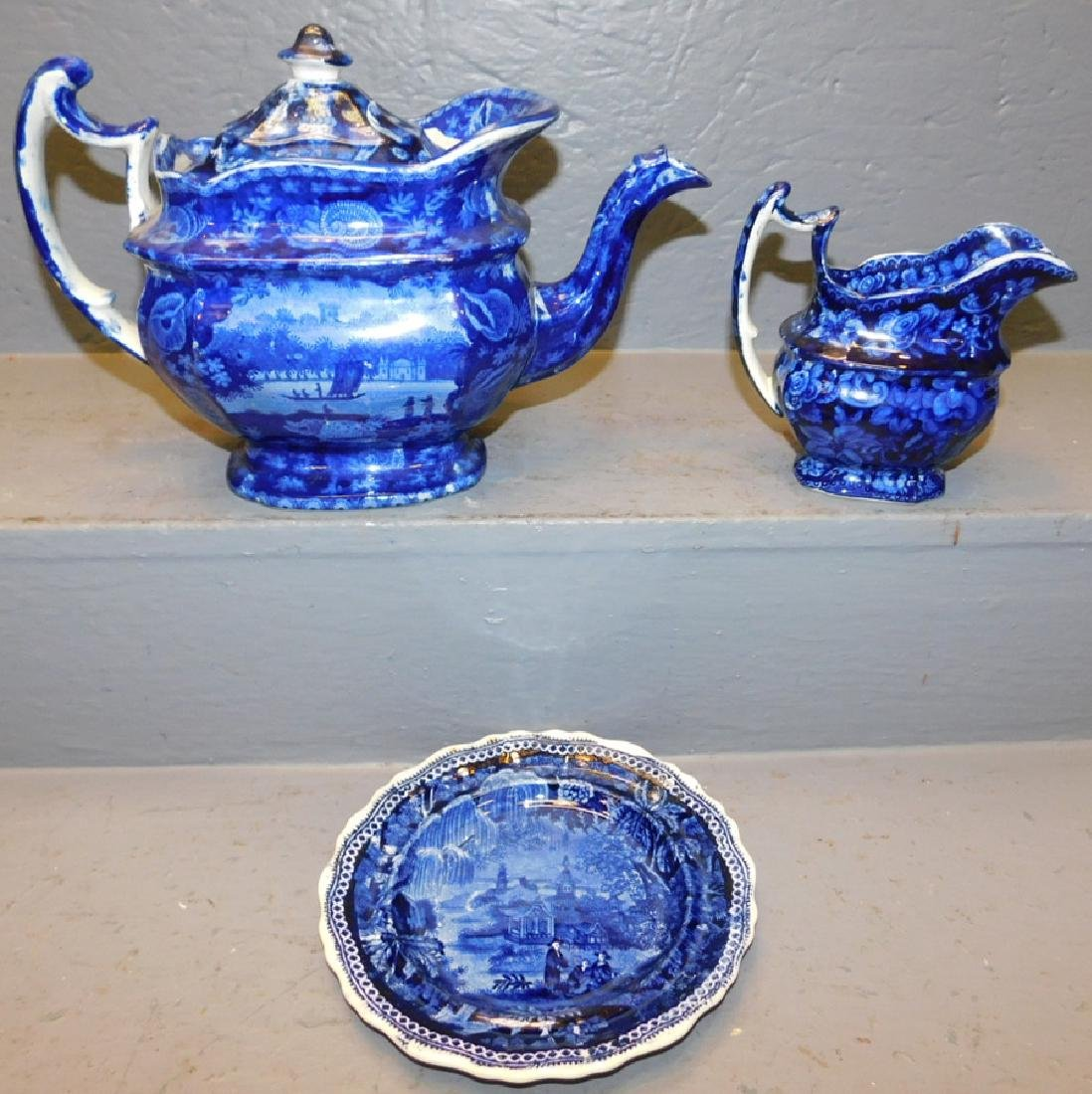Eng historical blue & white tea pot, creamer & plate.