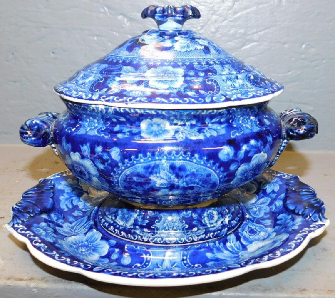 Dark blue historical sauce tureen and under plate.