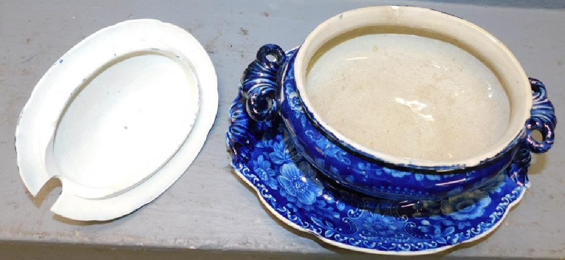 Dark blue historical sauce tureen and under plate. - 3