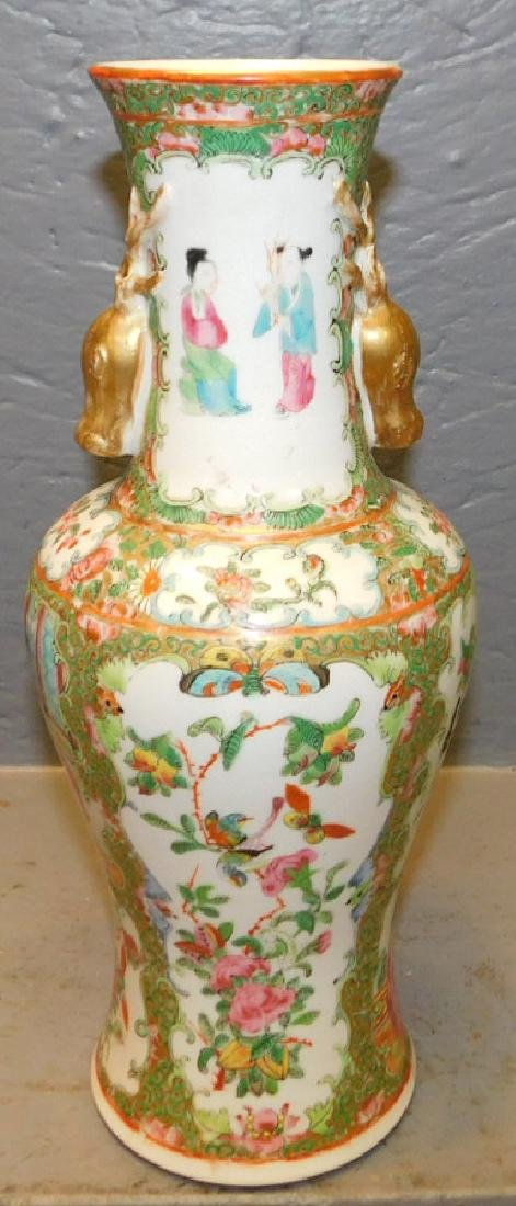 19th c Rose Medallion vase w stag head handles. - 2