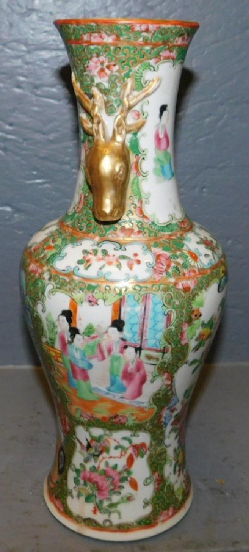 19th c Rose Medallion vase w stag head handles. - 3