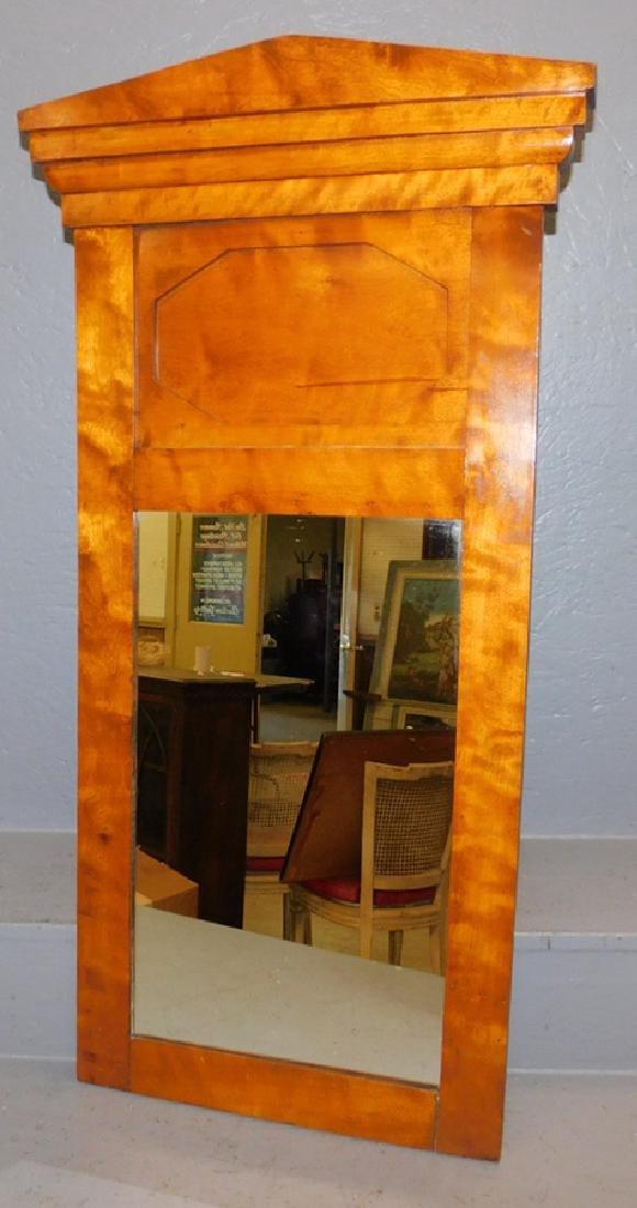 Biedermeier style birch or maple mirror.