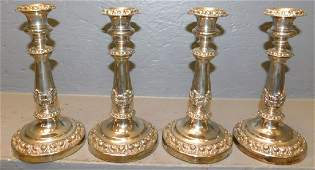 Set of 4 English Old Sheffield plate candlesticks