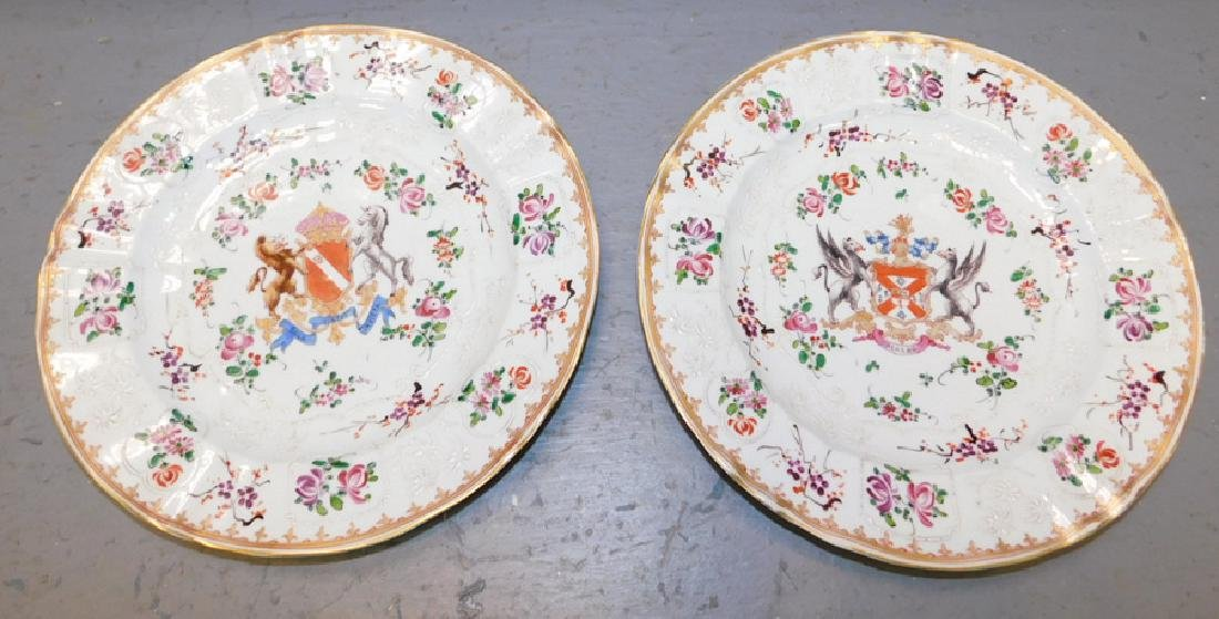 Pr 18th c Chinese export armorial crested plates.