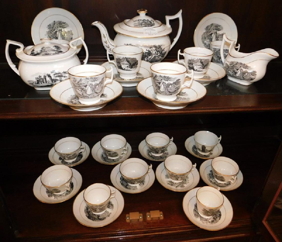 27 pc. Eng black transfer cream ware tea set