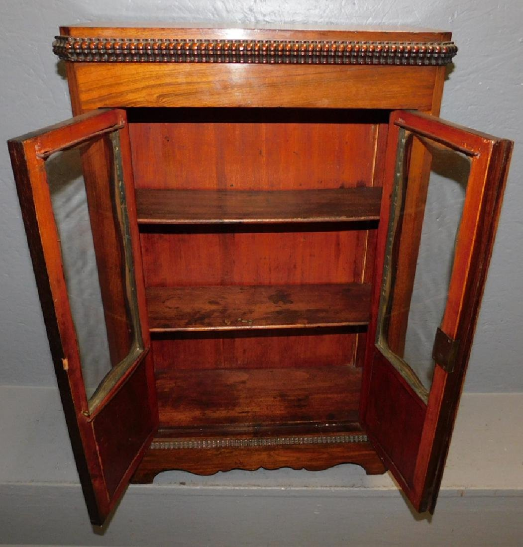 Miniature mahogany rosewood glass front cupboard. - 2
