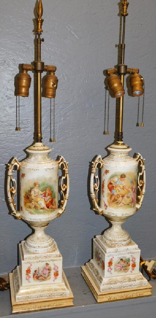 """Pair of hand painted Victorian lamps. 34"""" tall."""