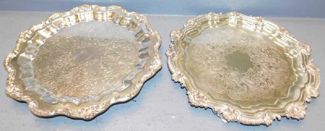 "2 silver plate footed trays. To 16"" dia."