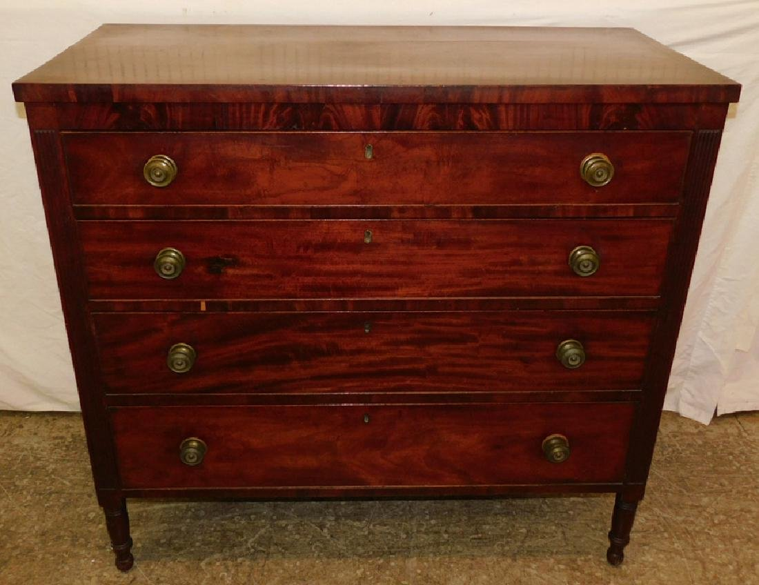American four drawer mahogany Sheraton chest.